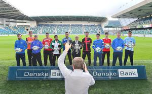Pacemaker Press Belfast 03-08-2016:  launch event for the 2016/17 Danske Bank Football Premiership season. Members of the Premiership teams pictured at the National Football Stadium at Windsor Park in Belfast with Danske Bank's chief executive, Kevin Kingston holding the Cup. Picture By: Arthur Allison.