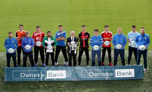 Press Eye - Belfast -  Northern Ireland - 03rd August 2016 - Photo by William Cherry  Pictured at the launch of the Danske Bank Premiership are Kevin Kingston, CEO of Danske Bank and players from each of the 12 league teams.  The launch was held at the National Stadium at Windsor Park.