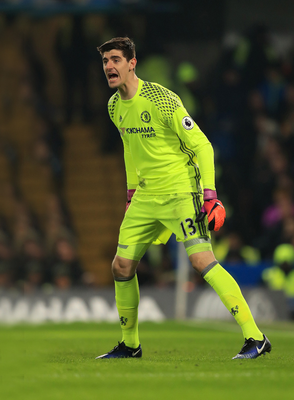Shouting the odds: Thibaut Courtois has urged Chelsea to clinch the title at West Brom