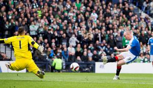 Rangers' Kenny Miller scores his sides opening goal during the William Hill Scottish Cup semi-final match at Hampden Park, Glasgow. PRESS ASSOCIATION Photo. Picture date: Sunday April 17, 2016. See PA story SOCCER Rangers. Photo credit should read: Jeff Holmes/PA Wire. EDITORIAL USE ONLY