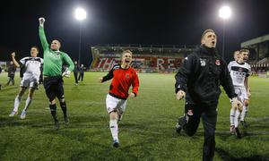 Picture - Kevin Scott / Belfast Telegraph  Belfast , UK - April 19,  Pictured is  Crusaders Celebrating as they win the league in action on April 19, 2016  Belfast , Northern Ireland ( Photo by Kevin Scott / Belfast Telegraph )