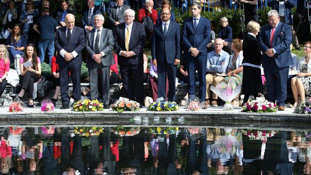 Press Eye - Belfast - Northern Ireland - 12th August 2018 -  Minister of State for Northern Ireland, Shailesh Vara MP and Irish Minister Simin Harris join relatives and guests to take part in the Omagh Bomb Memorial Service in the Memorial Garden of Light ahead of the 20th anniversary of the Omagh bombing.  Twenty-nine people - including a woman pregnant with twins - were killed in a car bomb attack in the County Tyrone town in 1998. It was carried out by the dissident republican Real IRA, several months after the signing of the Good Friday Agreement.   Photo by  Kelvin Boyes / Press Eye.