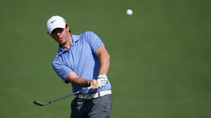 Rory McIlroy hits a shot during a practice round prior to the start of the 2013 Masters Tournament at Augusta National Golf Club