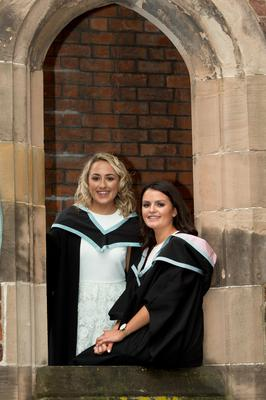 Graduating today from Queen's University Belfast are sisters, Meadbh and Eimear Maginn, who both graduated from Queen's Management School.