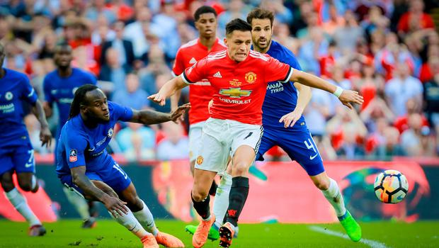 Manchester United's Alexis Sanchez and Chelsea's Victor Moses in action during the FA Cup final at Wembley on May 19th 2018 (Photo by Kevin Scott / Belfast Telegraph)
