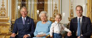 This Stamp Sheet issued by the Royal Mail to mark the 90th birthday of Queen Elizabeth II features four generations of the Royal family, from left, the Prince of Wales, Queen Elizabeth II, Prince George and the Duke of Cambridge, and was taken in the summer of 2015 in the White Drawing Room at Buckingham Palace. Ranald Mackechnie/Royal Mail/PA Wire