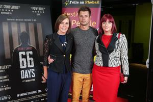 Sabina Cherek, Rabek Cherek and Alina Grychta are pictured at the film premiere of Bobby Sands: 66 Days at the Omniplex Cinema at the Kennedy Centre in west Belfast.  The premiere was hosted with Féile An Phobail and West Belfast Film Festival.  Photo by Kelvin Boyes  / Press Eye