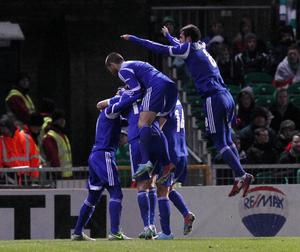 Northern Ireland v Israel World Cup Qualifier at Windsor Park in Belfast.  Israel celebrate after they score to make it 0-1