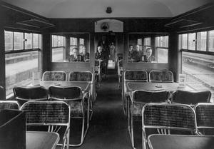 The buffet car onboard a G.N.R train sits prepared for hungry passengers.  30/3/1936