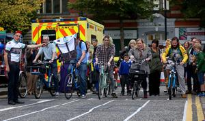 Friday 19th September 2014, Belfast, Northern Ireland - BELFAST TELEGRAPH - Culture Night in Belfast   Culture Night in Belfast - The Slow bike race in Academy Street  Picture Credit : Kevin Scott / Belfast Telegraph