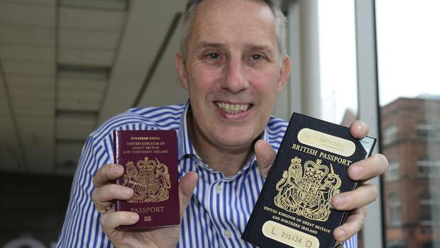 Pacemaker Press: 22th December 2017: Ian Paisley Jr pictured with his new and old Passport Picture By: Arthur Allison.