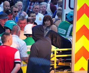 PACEMAKER BELFAST   12/07/2013 North Belfast MP Nigel Dodds has been injured in violence that followed an Orange Order parade. Police say Mr Dodds was knocked unconscious and taken away in an ambulance. Earlier he had appealed for calm after trouble broke out when an Orange parade was stopped on the Woodvale Road. Picture By: Arthur Allison/Pacemaker Press