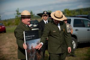 SHANKSVILLE, PA- SEPTEMBER 10:  Jeff Reinbold (R), superintendent of the National Park Service in Western Pennsylvania; and Keith Newlin, deputy superintendent of the Flight 93 National Memorial Visitor Center Complex attend a media tour of the construction site at the complex on the eve of the 13th anniversary of the 9/11 attacks September 10, 2014, in Shanksville, Pennsylvania. The complex includes a visitor center, Flight Path Walkway and learning center.  (Photo by Jeff Swensen/Getty Images)