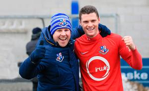 Glory boy: Gary Liggett with Loughgall coach Andy Smith