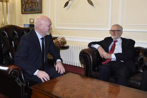 Mr Corbyn meeting Assembly speaker Alex Maskey at Stormont (Michael Cooper/PA)