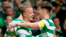 Lethal: Kieran Tierney (right) with Leigh Griffiths. Photo: Jane Barlow/PA