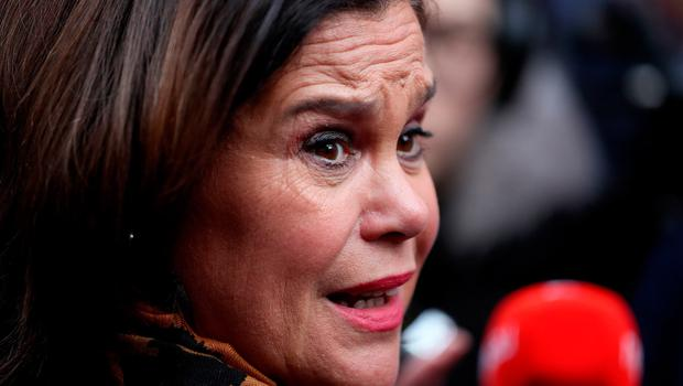 Sinn Fein leader Mary Lou McDonald speaks to the media during a walkabout in central Dublin, whilst on the General Election campaign trail. Picture date: Thursday February 6, 2020. Brian Lawless/PA Wire