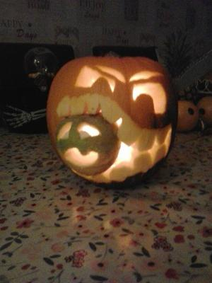Alfie Kelly (8) from Strabane carved a pumpkin and turnip, here is his carving creation.Pic Vickey Donaghy