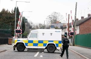 Press Eye - Belfast - Northern Ireland - 16th March 2015 Picture by Jonathan Porter / Press Eye   Security alert on the Belfast to Dublin railway line at Lurgan.  Lake Street in the town is closed between North Street and Victoria Street.  PSNI officers at the scene on Lake Street.