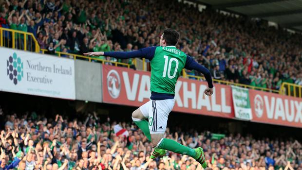 Northern Ireland's Kyle Lafferty celebrates his goal during tonight's game at Windsor Park, Belfast.  Photo by David Maginnis/Pacemaker Press