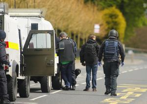 Police and ATO carrying out searches on the Glen Road in west Belfast following reports of an explosive device being launched at police. Photo by Kevin Scott