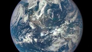 Undated handout photo issued by NOAA of the Earth photographed from one million miles way by a NASA camera on the Deep Space Climate Observatory (DSCOVR) satellite. PA