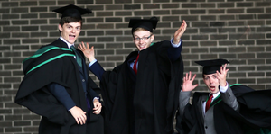 Graduating from Ulster University today with degree in Geography are Aaron Taggart from Ballyclare, Andrew Eastop from Ballyclare and Rudi Doran from Donegal. Pic By Paul Moane / Aurora PA