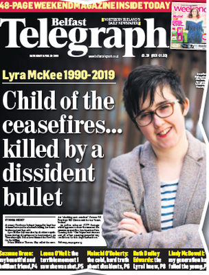 The Belfast Telegraph's coverage of the death of Lyra McKee has been shortlisted in the Front Page of the Year (daily paper) category.