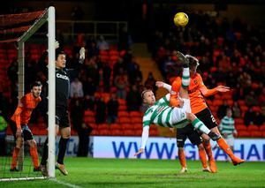Celtic's Leigh Griffiths attempts an overhead kick during the Ladbrokes Scottish Premiership match at Tannadice Park, Dundee. Andrew Milligan/PA Wire.