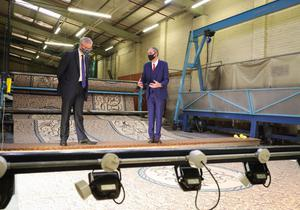 Michael Gove visited the Ulster Carpets factory in Portadown (Kelvin Boyes/PA)