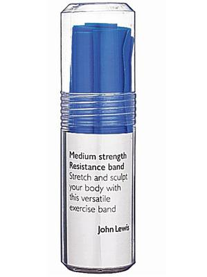 <b>John Lewis resistance band </b><br/> This cheap and simple exercise tool will help you tone your upper and lower body, as well as improve your flexibility. It's also great for modifying familiar exercises and you can easily combine it with other exercise equipment.<br/> £8, johnlewis.com