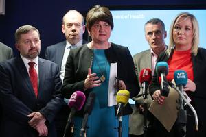 Health Minister Robin Swann, First minister Arlene Foster, Deputy First Minister Michelle O'Neill with Chief Medical Officer Dr Michael McBride (back left) and Jnr Minister Declan Kearney (back right) speak at a press conference following a meeting.  Picture by Jonathan Porter/PressEye