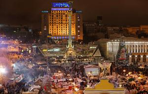 Pro-European Union activists gather in their tent camp on Independence Square in Kiev, Ukraine, Monday, Dec. 9, 2013.
