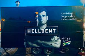 Hellbent's food truck, with owner Louis Ludik on the side