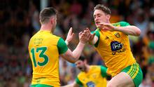 Big impact: Donegal's Hugh McFadden celebrates his goal with Patrick McBrearty yesterday