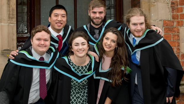 Pictured from left to right are Benn Hughes, John Pak, Jonathan Boyd, Mark Gallagher with, front centre, Colleen O'Sullivan and Erin Magee. The group graduated with a BSc in Pharmaceutical Sciences and were the first cohort from Queen's University to graduate in this degree. Queen's University Belfast is 2nd in UK for Pharmacology and Pharmacy.