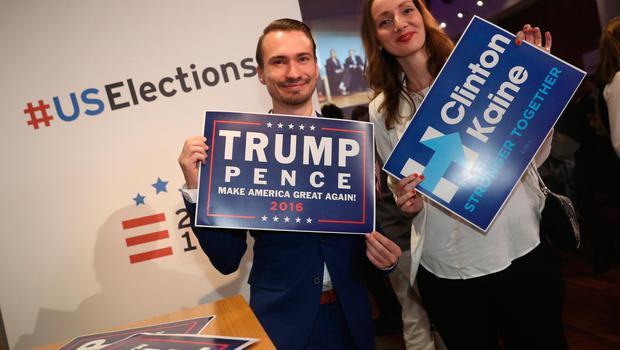 BERLIN, GERMANY - NOVEMBER 08:  Guests Philipp Koerner and Mareike Bake attend the U.S. elections party hosted by the Aspen Institute Germany at the Baden-Wuerttemberg State Representation on November 8, 2016 in Berlin, Germany. Many Germans are watching the U.S. elections closely and a majority are hoping Hillary Clinton will defeat Donald Trump.  (Photo by Sean Gallup/Getty Images)