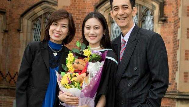 Celebrating graduation success from Queens University Belfast is Cheryl Hong Vaey Syuen who graduated with a degree in Law. Cheryl is pictured with her mother Teresa Neoh Hooi Sian and father Hong Meow Keong who travelled from Malaysia to attend the graduation.