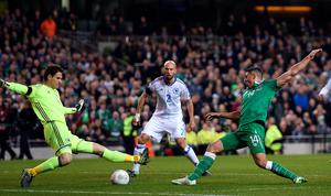 Republic of Ireland's Jonathan Walters (right) has a chance saved by Bosnia and Herzegovina goalkeeper Asmir Begovic (left) during the UEFA Euro 2016 Qualifying Playoff second leg at the Aviva Stadium, Dublin. PA