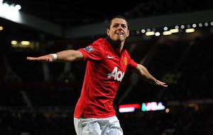 Manchester United's Javier Hernandez celebrates scoring his side's second goal during the Capital One Cup, Fourth Round match at Old Trafford, Manchester.