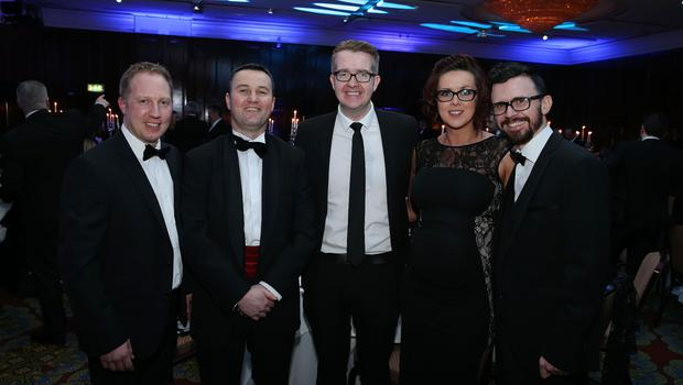 Jonathan Carter, Sam Waide, David Meade, Emma Weaver and Niall Greene at the Institute of Directors NI Annual Dinner at the Europa Hotel on Thursday night. Sponsored by Bank of Ireland and Arthur Cox, the event is the highlight of the local business calendar and was attended by over 250 people.  Picture by Kelvin Boyes / Press Eye.