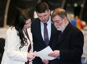 NI Assembly Election 2017 Count at Titanic Exhibition Centre in Belfast for Belfast East,  Belfast North, Belfast South and Belfast West constituencies. DUP candidate for south Belfast Emma Little-Pengelly(left) with DUP candidate for north Belfast Nelson McCausland. Photo by Jonathan Porter / Press Eye.