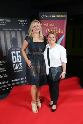 Press Eye Belfast - Northern Ireland - 31st July 2016    Sharon Curran and Eva Grossman are pictured at the film premiere of Bobby Sands: 66 Days at the Omniplex Cinema at the Kennedy Centre in west Belfast.  The premiere was hosted with Féile An Phobail and West Belfast Film Festival.  Photo by Kelvin Boyes  / Press Eye