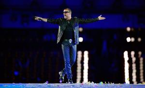 George Michael performing during the closing ceremony of the 2012 London Olympic Games at the Olympic stadium in London.