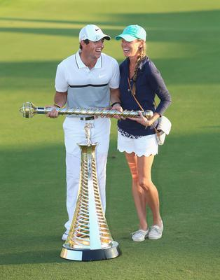 Rory with girlfriend Erica Stoll at the Race To Dubai and DP World Tour Championship in Dubai. (Photo by Andrew Redington/Getty Images)