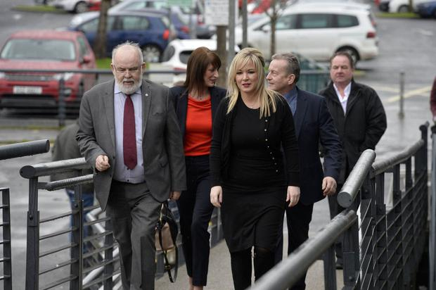Sinn Fein's Michelle ONeill arrives at the count centre with candidates Ian Milne and Linda Dillon and MP Francey Molloy Photo by Stephen Hamilton / Press Eye.