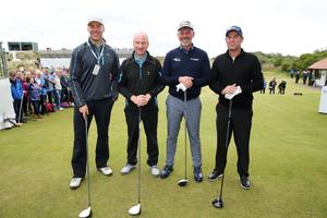 Press Eye - Belfast - Northern Ireland - 27th May 2015? Dubai Duty Free Irish Open at Royal County Down Pro-Am Day Darren Clarke with former Irish rugby player Stephen Ferris, BBC presenter Stephen Watson and Shane Warne. Picture by Kelvin Boyes / Press Eye?