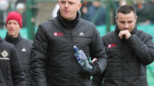 Pacemaker Belfast 1-2-20 Queen's University v Glentoran - Sadler's Peaky Blinder Irish Cup Queen's manager Peter Thompson  during today's game at The Dub, Belfast.  Photo by David Maginnis/Pacemaker Press