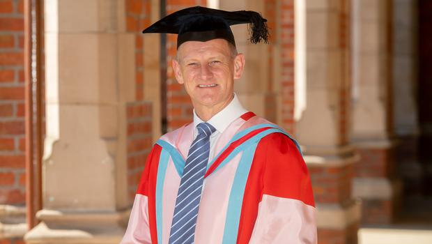Marks & Spencer CEO Steve Rowe was awarded with an honorary doctorate by Queen's University Belfast for services to business and commerce. Mr Rowe, who began his career in retail at the age of 15 when he got a Saturday job at Marks & Spencer's Croydon store in London, is currently driving the most radical transformation programme in the company's 134-year history to restore the business to sustainable, profitable growth.