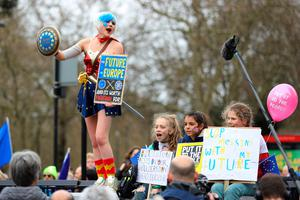 Anti-Brexit campaigners in Park Lane before they take part in the People's Vote March in London. PRESS ASSOCIATION Photo. Picture date: Saturday March 23, 2019. See PA story POLITICS Brexit March. Photo credit should read: Aaron Chown/PA Wire